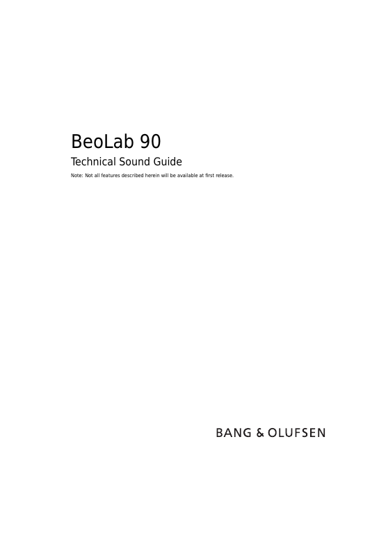 Beolab90 technical sound guide 15101