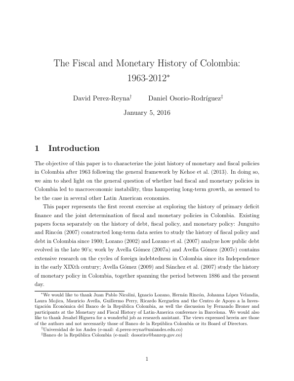 The Fiscal and Monetary History of Colombia: 1963-2012