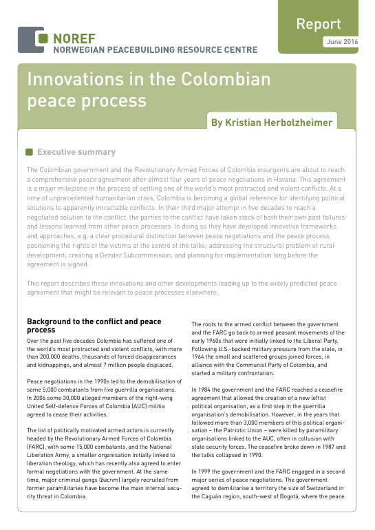 NOREF Report Innovations in the Colombian peace process