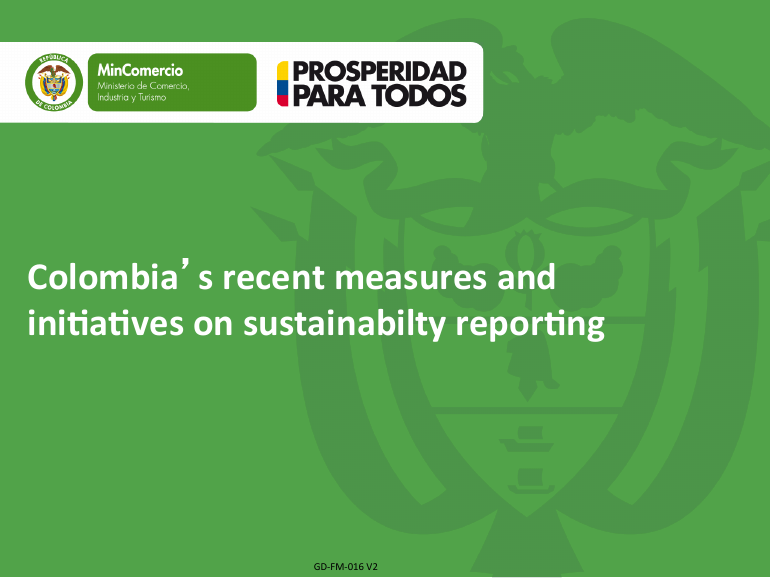 Colombia's recent measures and initiatives on sustainability reporting
