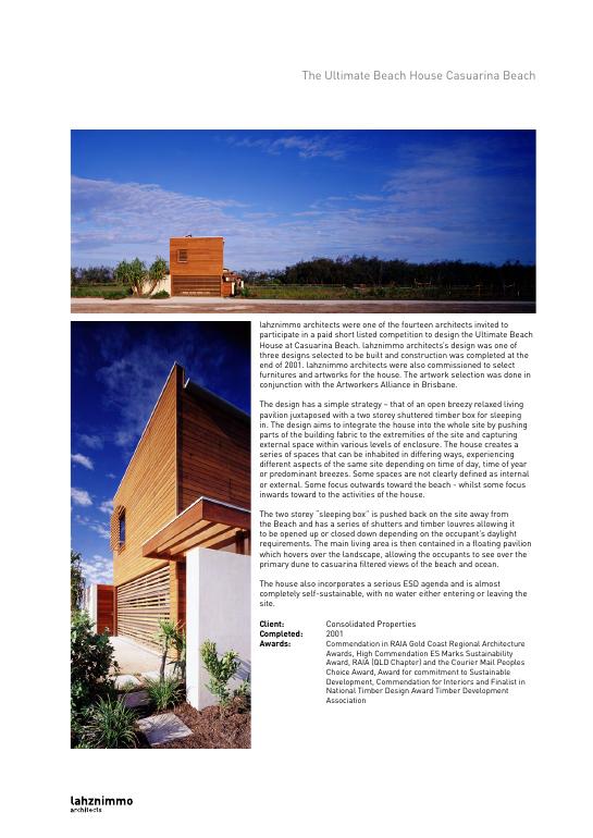Project sheet casuarina ultimate beach house