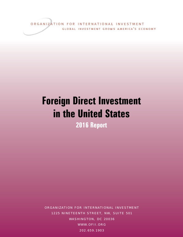 Foreign Direct Investment in the United States - 2016 Report