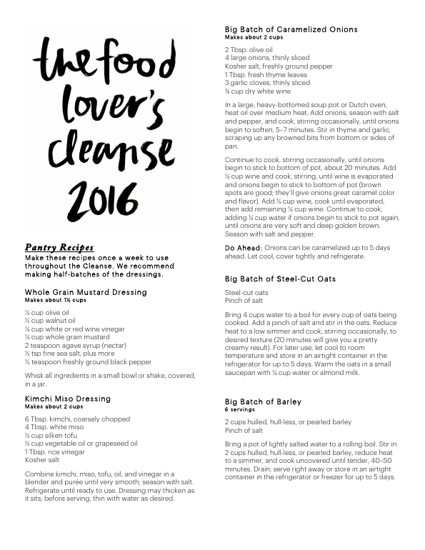 Food lovers cleanse 2016