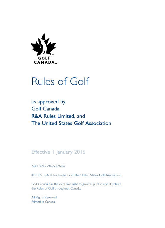 2016 rules of golf Canada