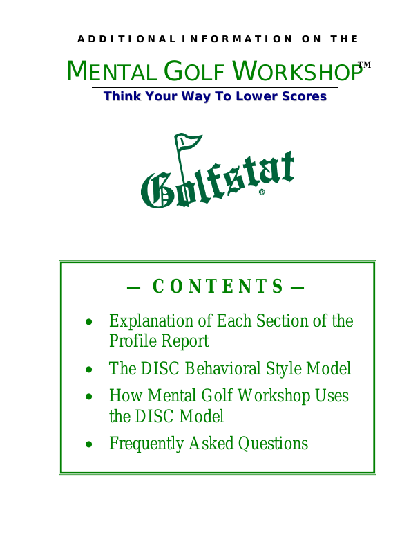 MENTAL GOLF WORKSHOP