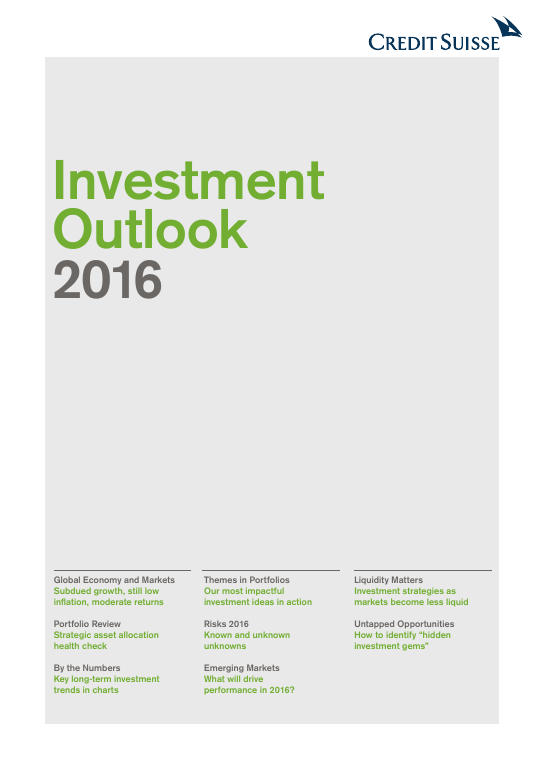 Investment outlook 2016 Credit Suisse