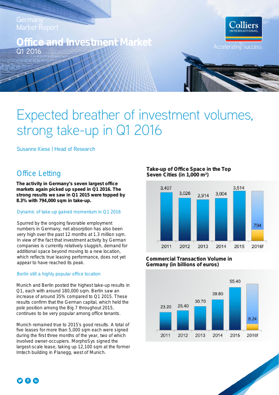 Germany Market Report: Office and Investment Market Q1 2016