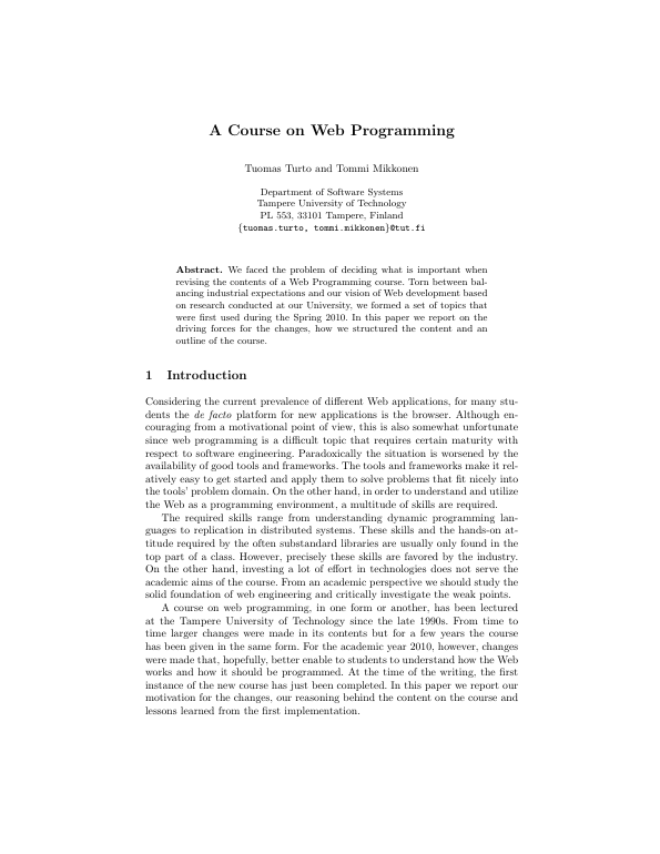 A Course on Web Programming. By Tuomas Turto and Tommi Mikkonen