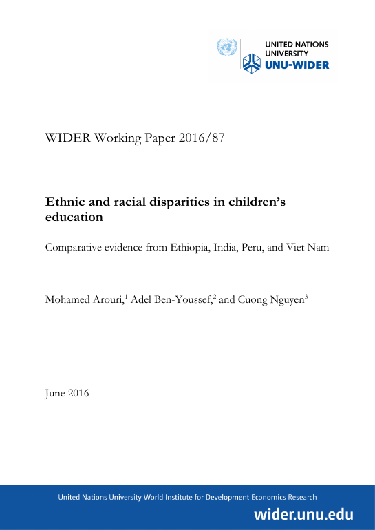 WIDER Working Paper 2016/87: Ethnic and racial disparities in children's education