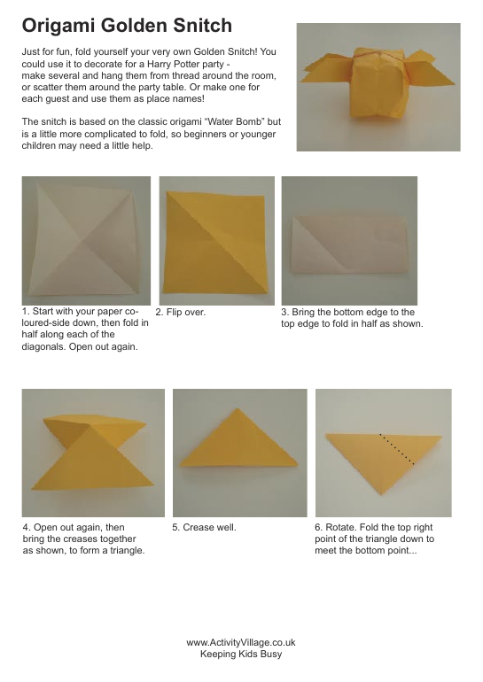 Origami golden snitch instructions
